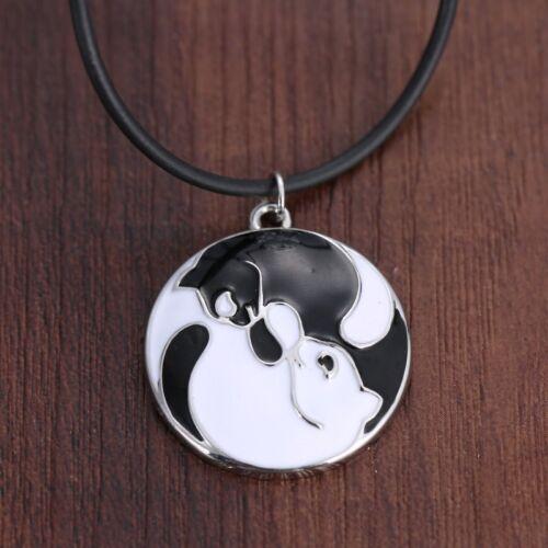 "VTG Yin yang White//Black Cats Pendant Choker Necklace 18/"" Pet Women Men's Gift"