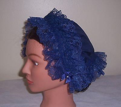 Ladies Civil War//Victorian Day Cap for Dress Navy Blue