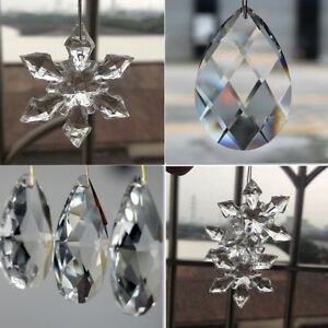 10Pcs-Clear-Crystal-Glass-Chandelier-Lamp-Water-Drop-Pendant-Jewelry-Making-DIY