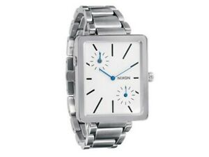 Nixon-A024-100-Women-039-s-Silver-Steel-Bracelet-With-White-Analog-Dial-Watch-NWT