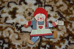 Old-Vintage-Sweden-Swedish-Girl-God-Jul-Wooden-String-Puppet-Handmade-Rare-3-in