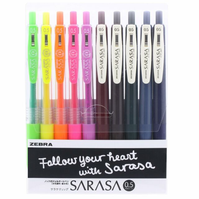 NEW Zebra Gel Ink Ballpoint Pen SARASA Clip 0.5mm Neon 10Color Vintage S/H Japan