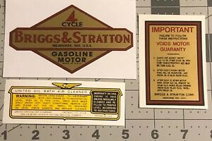 Briggs & Stratton Motor Decals 1934 To 43 WMI, N, U, I, WI,  Engine Set Of 3