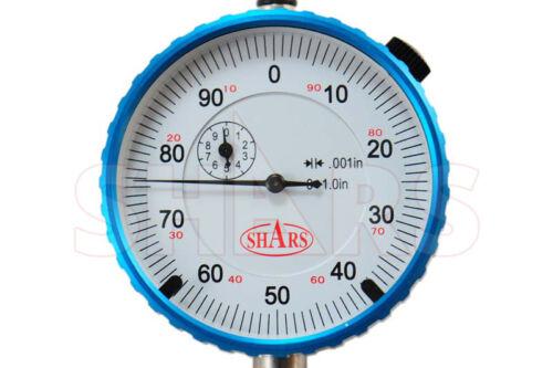 "SHARS 1/"" HIGH PRECISION DIAL INDICATOR .001/"" AGD 2 GRADUATION LUG BACK NEW"