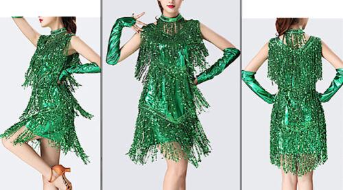 Vestito Frange Spettacolo Charleston Ballo Danza Donna Frills Show Dress CHARL09