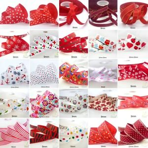 25x1Yard-Assorted-Satin-Grosgrain-Ribbon-Lot-3-8-034-1-5-034-Red-Theme-Craft-Bow-B