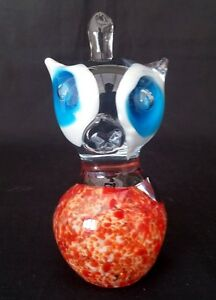 Art-Glass-Paperweight-Cat-Hollow-Speckled-Base-4-In-FREE-Delivery-UK