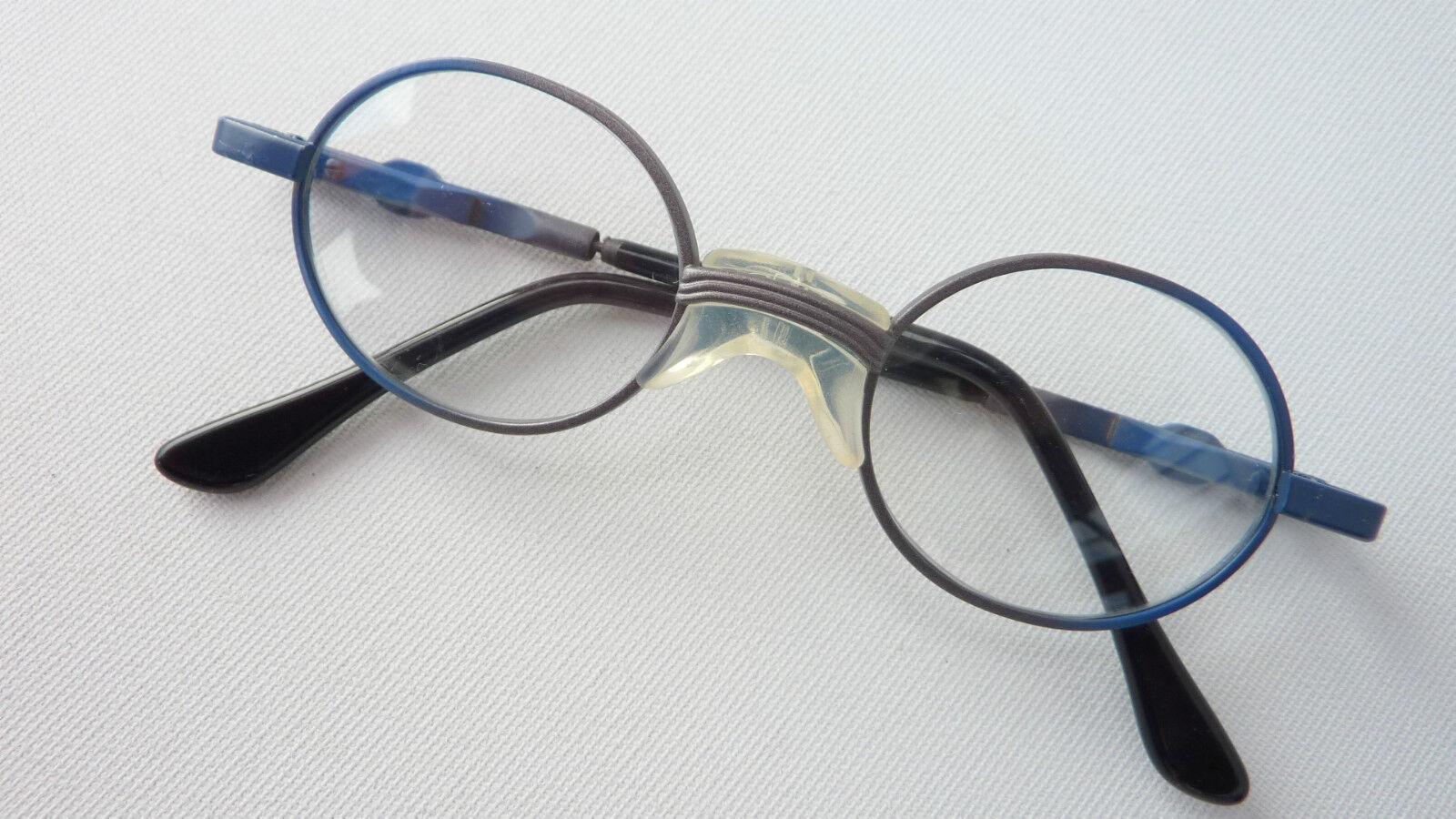 Babybrille Brillen Kleinkind Sattelsteg stabil blau rund sehr klein 37()15 Gr.xs