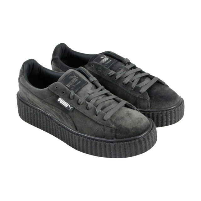 best deals on 1b46c 6f3ea Puma Fenty By Rihanna Creeper Velvet Womens Gray Casual Lace Up Sneakers  Shoes