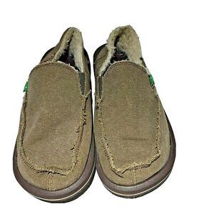 Sanuk-Vagabond-Chill-Slip-on-Calcada-surfistas-SMF1054-Marrom-sapatos-masculinos-tamanho-7