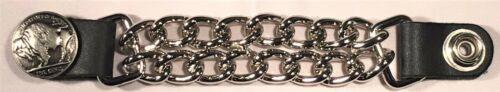1 BUFFALO NICKEL DOUBLE MOTORCYCLE BIKER MC CHAIN VEST EXTENDER MADE IN USA