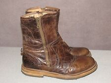 J Shoes Shroom Brown Leather YARD Side Zip Ankle Boots Men's Size 12 M