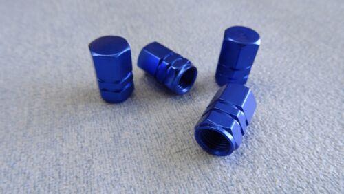 CITROEN DS 3 4 5 BLU METALLO polvere TAPPI VALVOLA PNEUMATICO RUOTA in alluminio copertura ESAGONALE