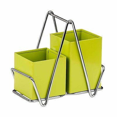 Premier Housewares Lime Green Cutlery Caddy Metal Utensil Holder Drainer Storage