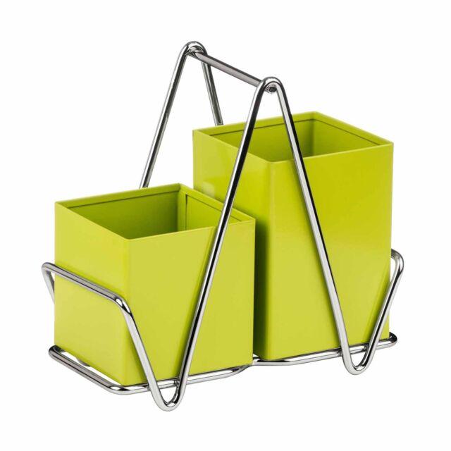 Premier Housewares Lime Green Cutlery Caddy Metal Utensil Holder Drainer Storage