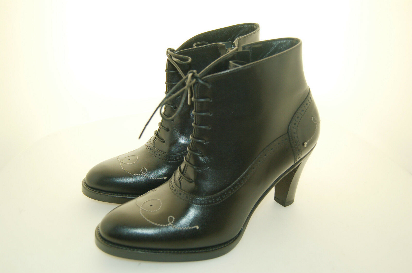 WOMAN - women - 37½ - ANKLE BOOT - CALF black - LEATHER SOLE - HEEL 8.5cm