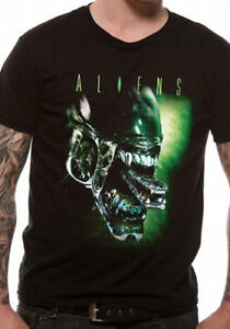 Official-ALIENS-ALIEN-HEAD-T-shirt-Black-Ridley-Scott-NEW-S-M-L-XL