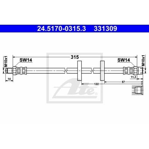 1 Flexible de frein ATE 24.5170-0315.3 convient à DAF SEAT VAG