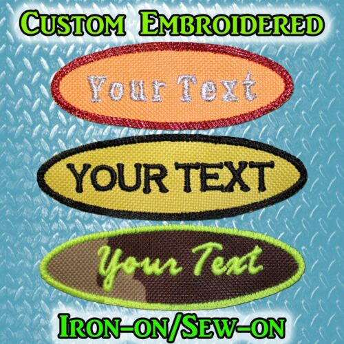"Custom Embroidered Name Tag or Text Tag Iron-on//Sew-on 4/""x1/"" or 3/""x1/"" Option"