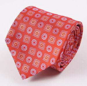"NWT $185 GUARRACINO NAPOLI Red Woven Medallion Pattern Silk Tie 3"""