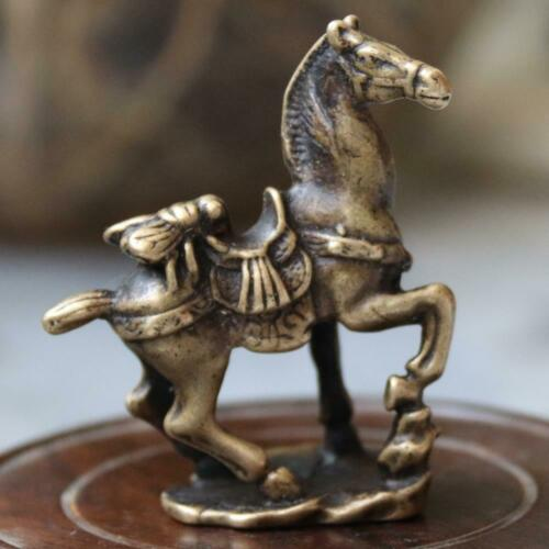 5 CM Bronze Copper Luck Chinese Zodiac Horse Animal Statue A021