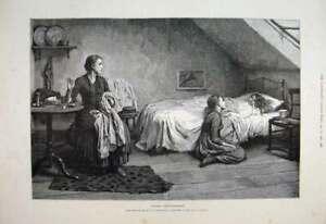 Original-Old-Antique-Print-1888-Widow-Woman-Children-Bedroom-Fine-Art-Victorian