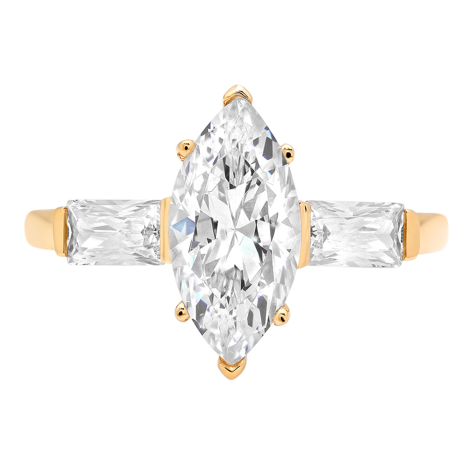 2.1 3 Stone Marquise Baguette Cut Classic Engagement Bridal Ring 14k Yellow gold