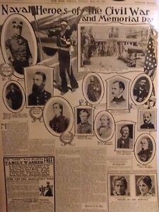 1903-Vintage-Newspaper-Navel-Heroes-of-Civil-War-Tecumseh-Sherman-Memorial-Day