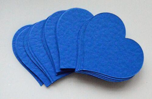 30 tarjeta azul real con textura en forma de corazón recortes para Manualidades 70mm X 62mm Nuevo