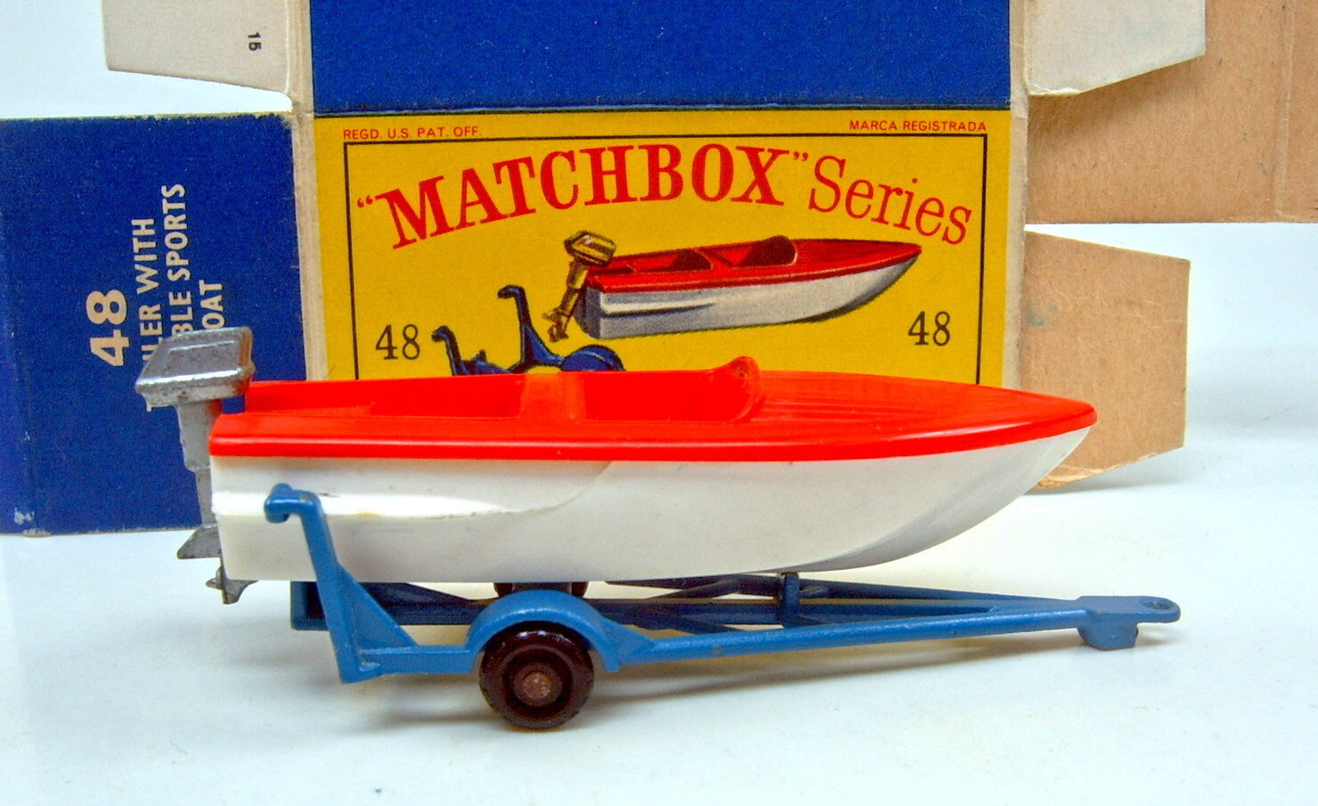 Matchbox RW 48B Sports Boat & Trailer rarer rarer rarer mittelblueer Trailer in  D  Box 5a2b5f