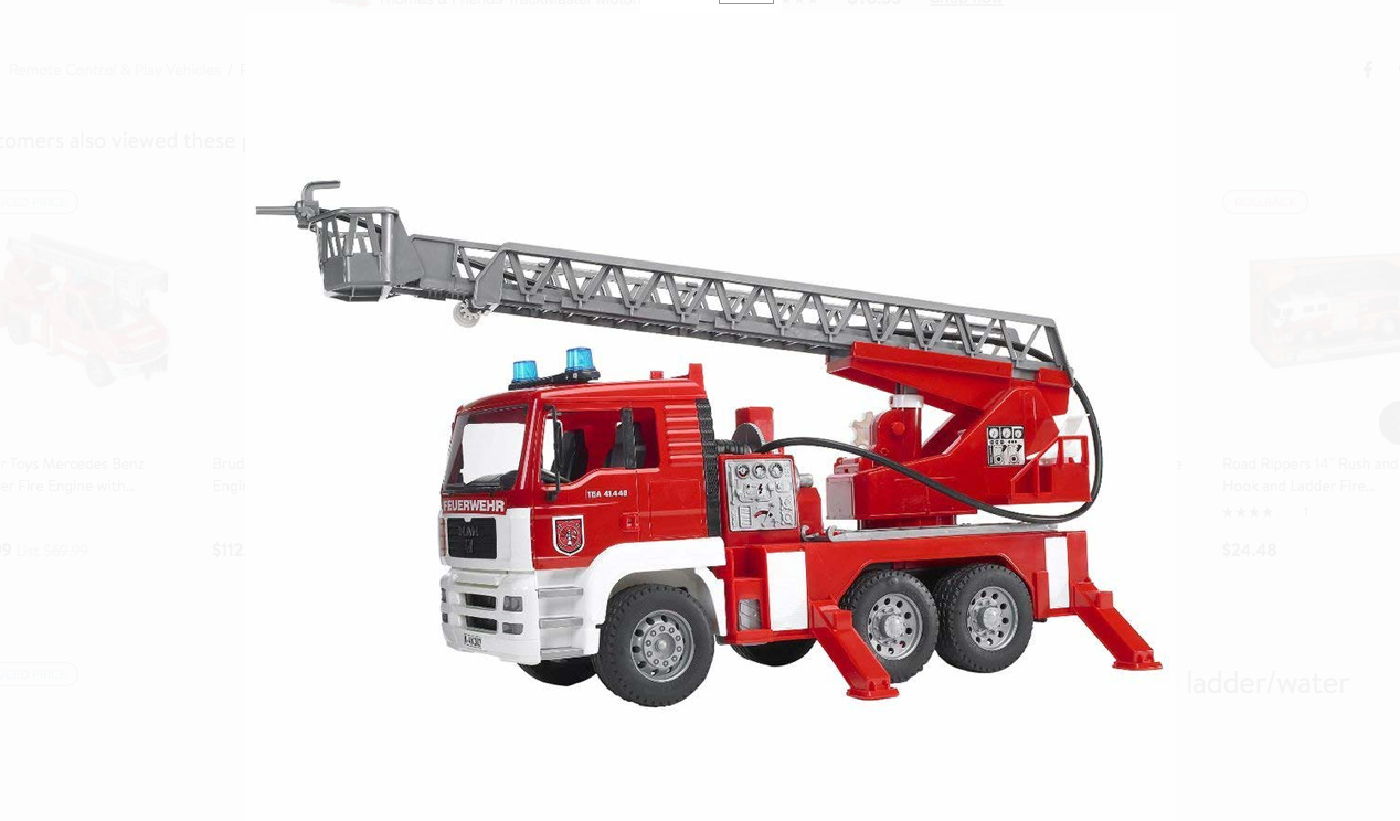 BRUDER 911    MAN Fire engine w selwing ladder, water pump + Light & Sound Module 64c244