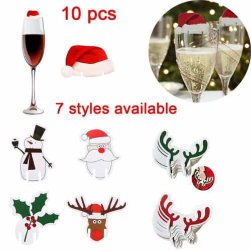 10PCs Christmas Hats For Champagne Cup Wine Glasses Caps Xmas Party Decoration