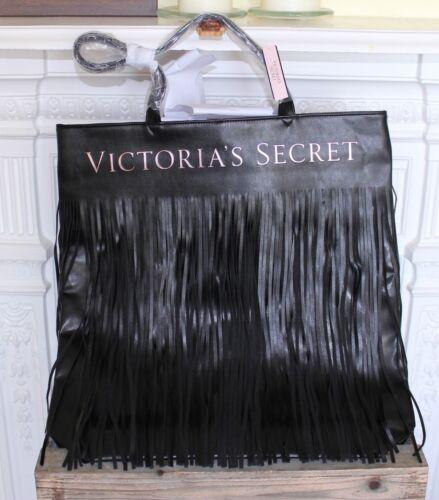 cuero Dorado flecos negro Puf Secret tote de de Victoria's Flecos Bolso Dorado con 8qAx4f1