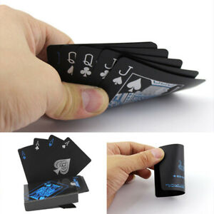 New-Black-Poker-Playing-Cards-PVC-Plastic-High-Quality-Durable-Waterproof-Deck-k