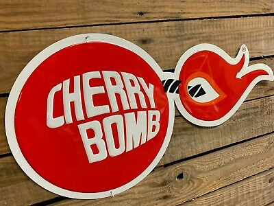 Metal Sign Cherry Bomb Supercharged Firecrackers Vintage Look Reproduction