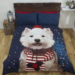 Noel-West-Highland-Terrier-Chien-Chapeau-Echarpe-Bleu-Blanc-Double-Duvet-Cover