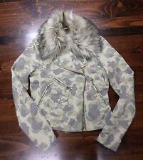 Ralph Lauren Denim & Supply Cotton Camo Motorcycle Jacket-Small--Faux Fur Collar