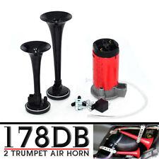 Super Loud 178db Car Truck Train Boat Dual Trumpet Air Horn Compressor 12v24v
