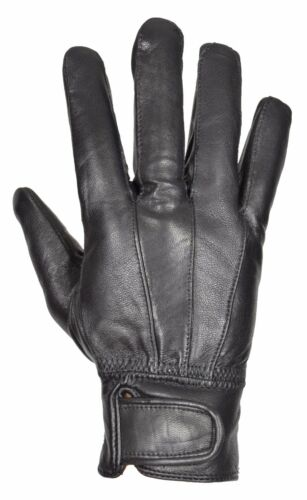 Mens Genuine Leather Gloves Winter Warm Classic Soft Fleece Lined Black Gloves