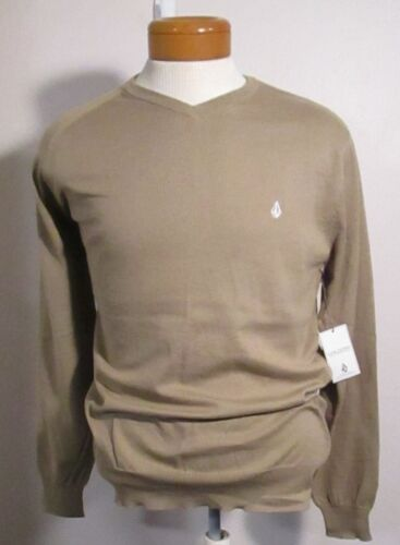 NWT Volcom Mens Standard V-Neck Sweater Khaki MSRP$50