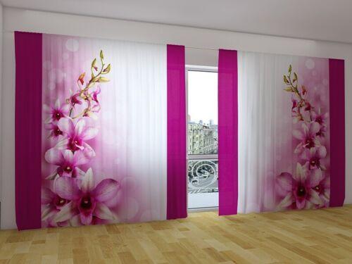 """Fotogardine /""""Orchidee/"""" Vorhang mit Motiv 3D Digitaldruck Fotovorhangauf Maß"""