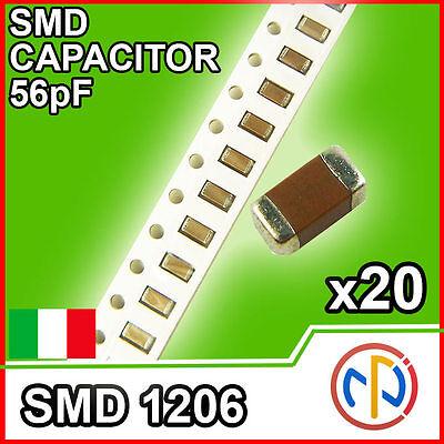 56pf SMD CAPACITOR 1206 50V CONDENSATORI STOCK 20 Pezzi