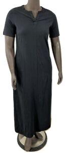 New-35-25-Value-Denim-amp-Co-sz-PS-Black-Split-V-Perfect-Jersey-Maxi-Dress