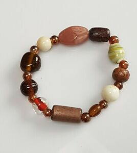 Handmade-beautiful-brown-glass-bead-bracelet