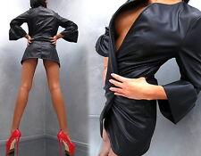 NEU 2017 ITALY LEDER OPTIK LEATHER LOOK Dress Kleid Jacke Mantel P41 Blazer M