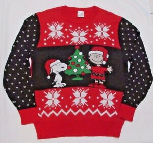 image is loading peanuts charlie brown snoopy ugly christmas sweater medium