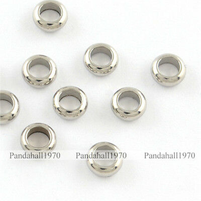 Hole 1mm 100 Pcs 304 Stainless Steel Folding Crimp Ends Steel Color 9.5x4x3mm