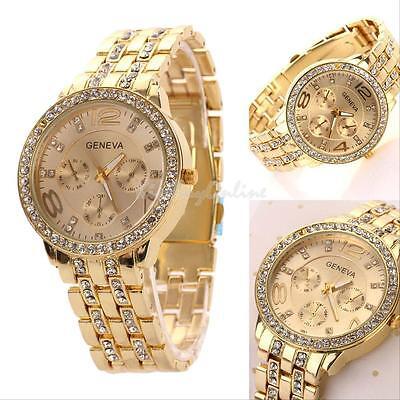 Geneva Bling Stainless Steel Quartz Rhinestone Crystal Women's Men's Wrist Watch