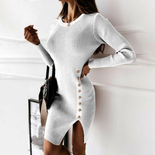 Women Long Sleeve Knitted Jumper Dress Sweater Bodycon Button Mini Short Dresses