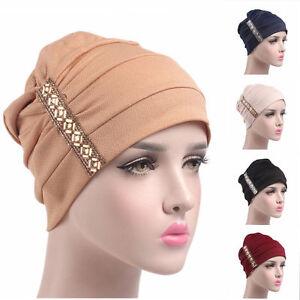 Muslim Women Bonnet Rhinestone Wrap Hijab Turban Cap Beanie Hat Head Scarf